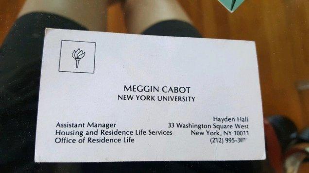 Cartão de visita Meggin Cabot NYU